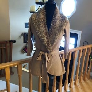 The Limited cardigan with faux fur collar